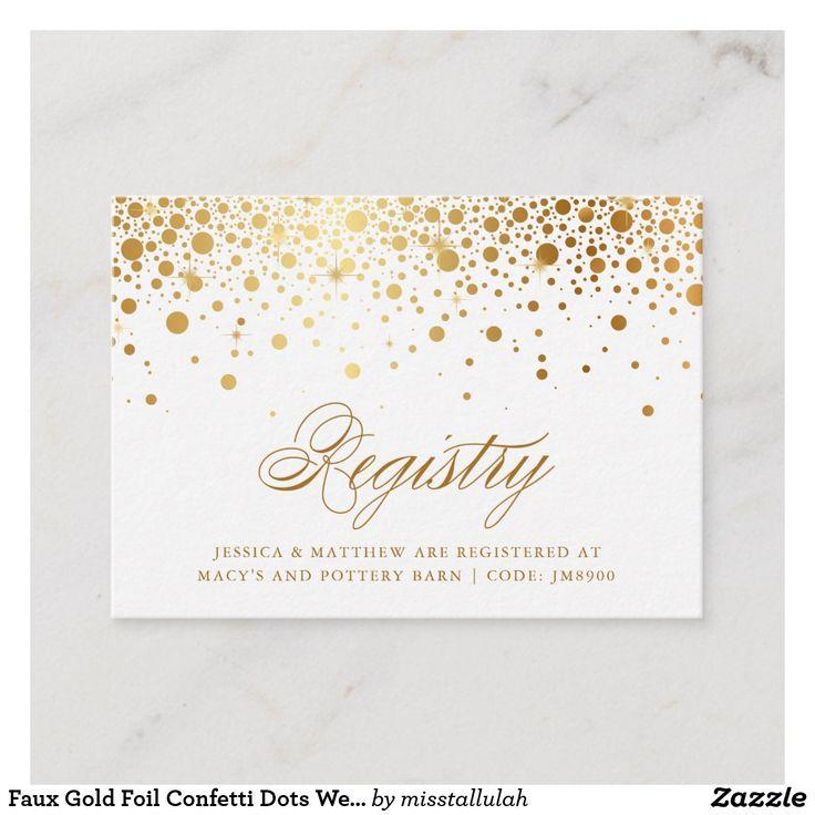 Imitat-Goldfolien-Konfetti-Punkte, die Register-Karte Wedding sind   Zazzle   – Wedding Registry