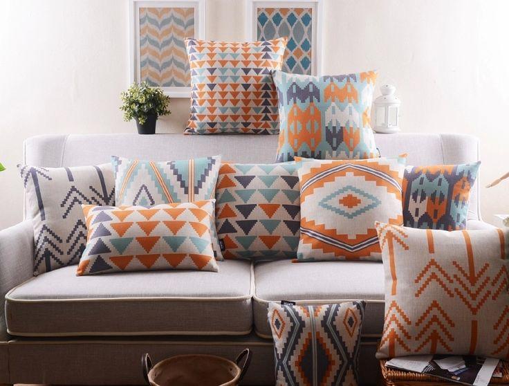 Saqure Pillow Case Home Decor Sofa Cushion Cover 22 Patterns Cotton Linen