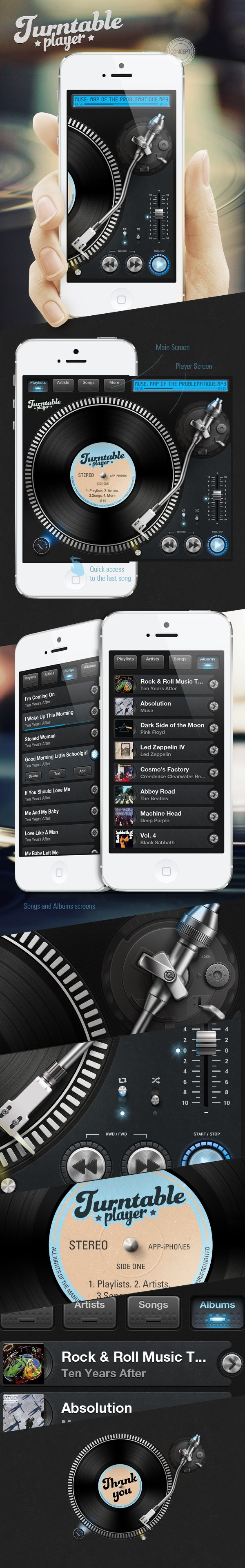Turntable Player iPhone App Concept by Ivan Gapeev, via Behance