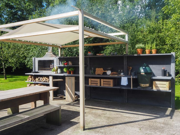 WWOO Outdoor Kitchen In Anthracite With The Bar Segment, The WWOO  Barstools, The Braai And The WWOO Canopy | Www.wwoo.nl | Customize WWOO |  Pinterest ...