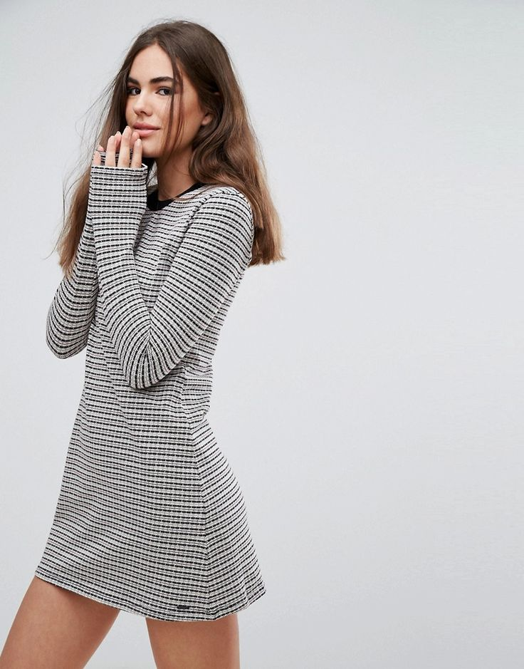 Get this Pepe Jeans's knitted dress now! Click for more details. Worldwide shipping. Pepe Jeans Edie Knit Stripe Dress - Grey: Casual dress by Pepe Jeans, Mid-weight cotton knit, Added stretch for comfort, Textured finish, Contrast round neck, Fixed trims, Applique Pepe Jeans logo, Regular fit - true to size, Machine wash, 95% Cotton, 5% Elastane, Our model wears a UK S/EU S/US XS and is 175cm/5'9 tall. The pipedream of three brothers, Pepe Jeans began on London's hip Portobello Market…