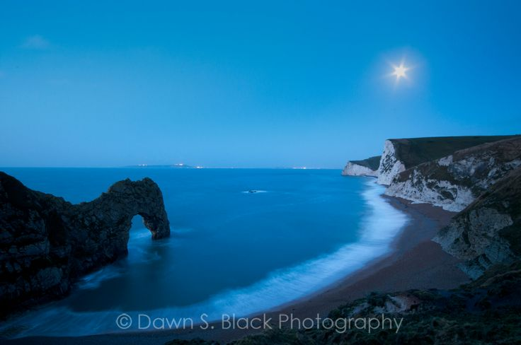 Durdle Door, Moonset, Dorset, England