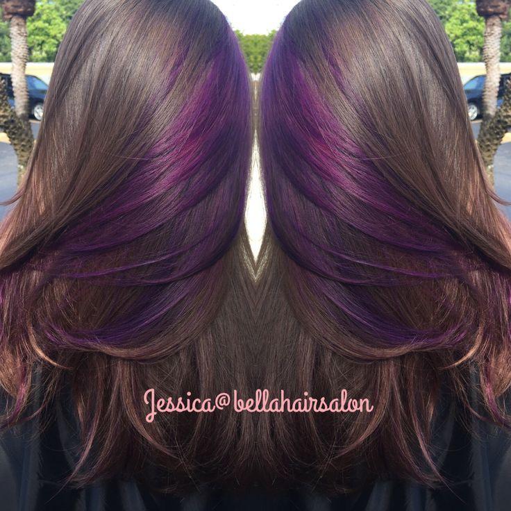 Image result for dark brown hair with purple peekaboos