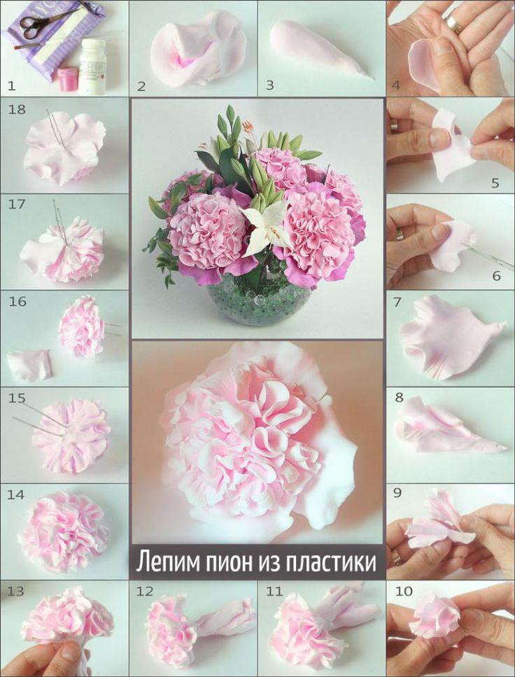Лепим пион из полимерной глины / Polymer clay peony tutorial