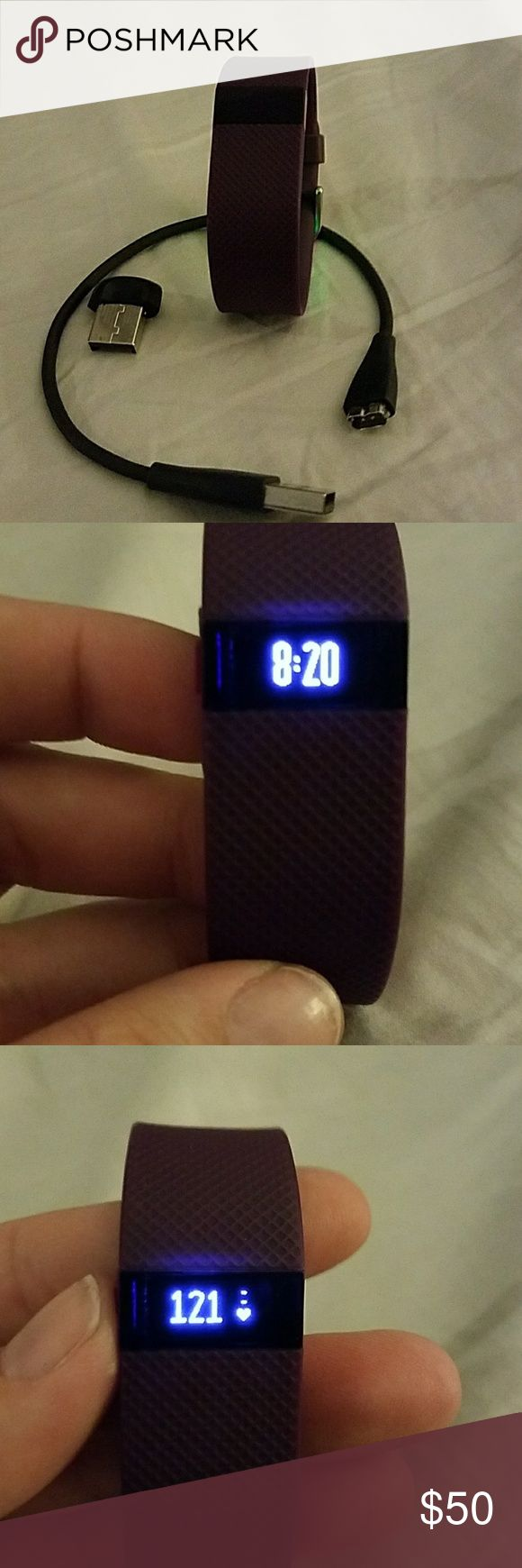 Fitbit Charge HR Small EUC!! Reposhing because my husband bought me an alta. Comes with charger and computer adapter. Monitors heart rate, steps, calories burned, stairs climbed and tracks sleep activity. Band has minimal wear. Size small band Not interchangable. FitBit Other