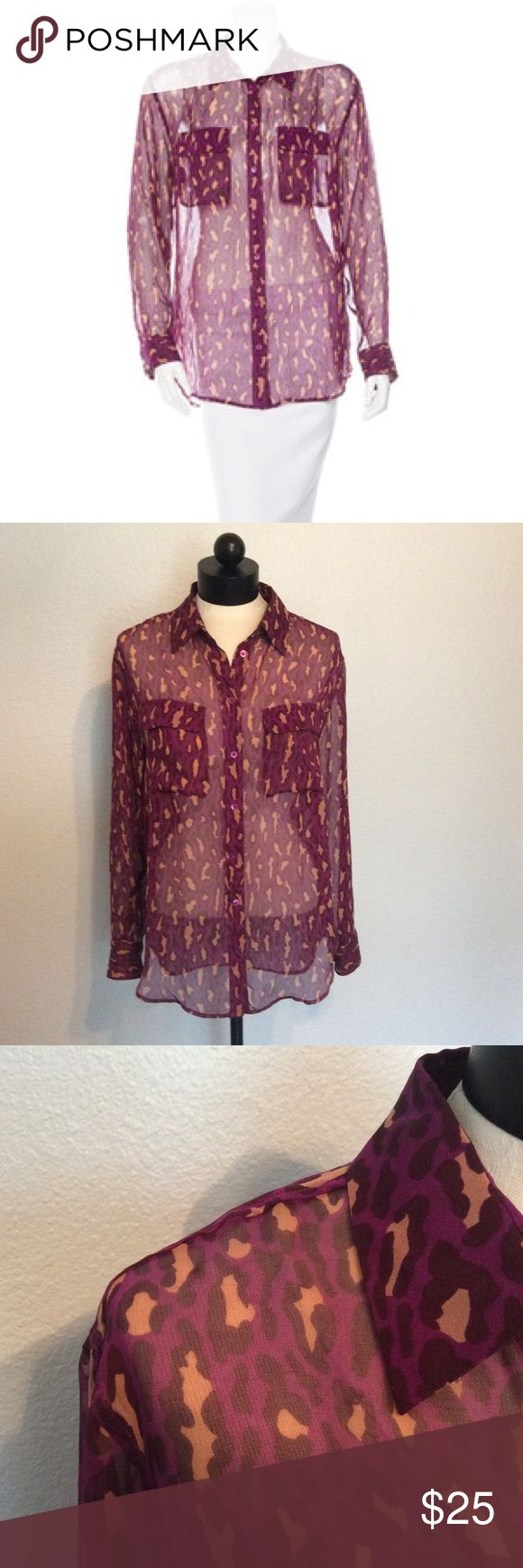 Equipment Leopard Shirt Gently worn. 100% silk, two small snags pictured on 2nd and 4th picture. Not very noticeable. No trades, no pp. Equipment Tops Button Down Shirts