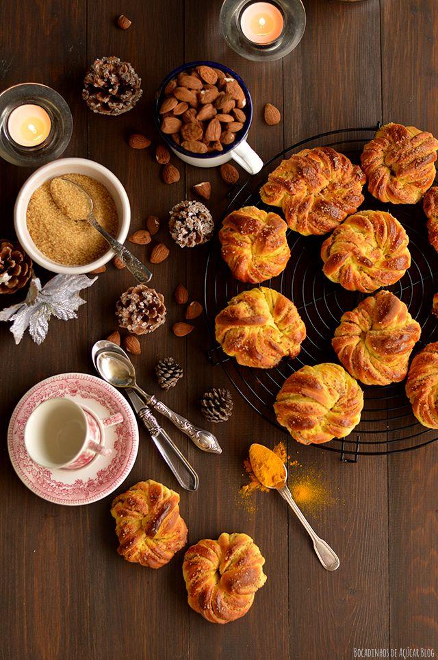Bocadinhos de Açúcar: Nós de Açafrão, com amêndoa e laranja
