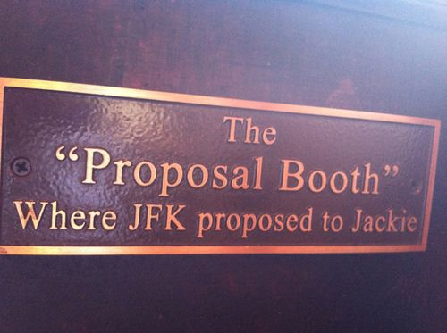 "Plaque marking the ""Proposal Booth,"" where John Kennedy proposed to Jackie, at Martin's Tavern at 1264 Wisconsin Ave. NW in Georgetown, Washington, DC"