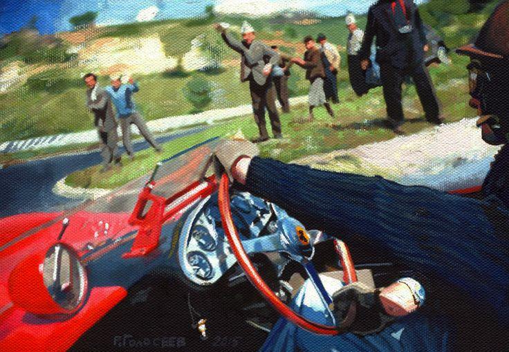 """Peter Collins, Scuderia Ferrari, the Targa Florio, 1958"", 14h24, oil on cardboard, 23,03.2015"