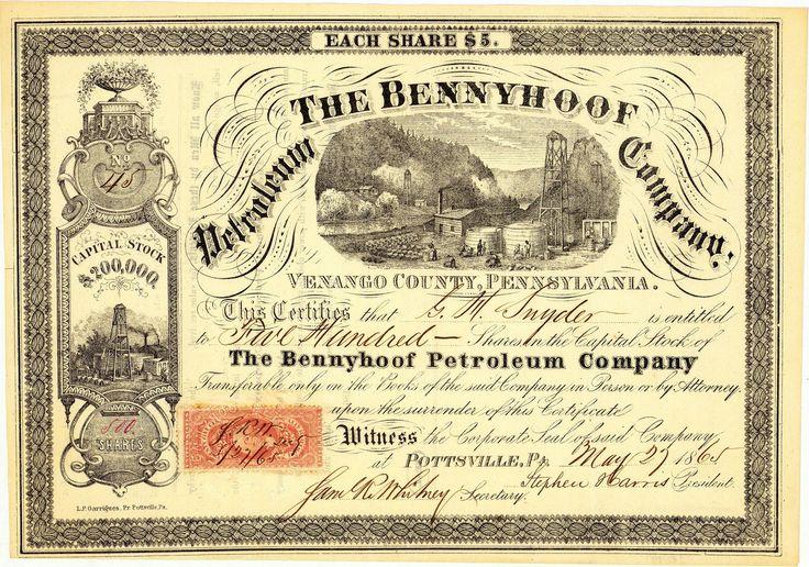 Bennyhoof Petroleum Company, Pottsville, Pa., Aktie von 1865 + MUSEALE RARITÄT!