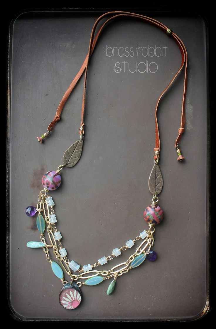 with an adjustable leather lace back and wirewrapped moonstone artisan lampwork genea and czeck glass and artisan resin pendant jade scott and bronze