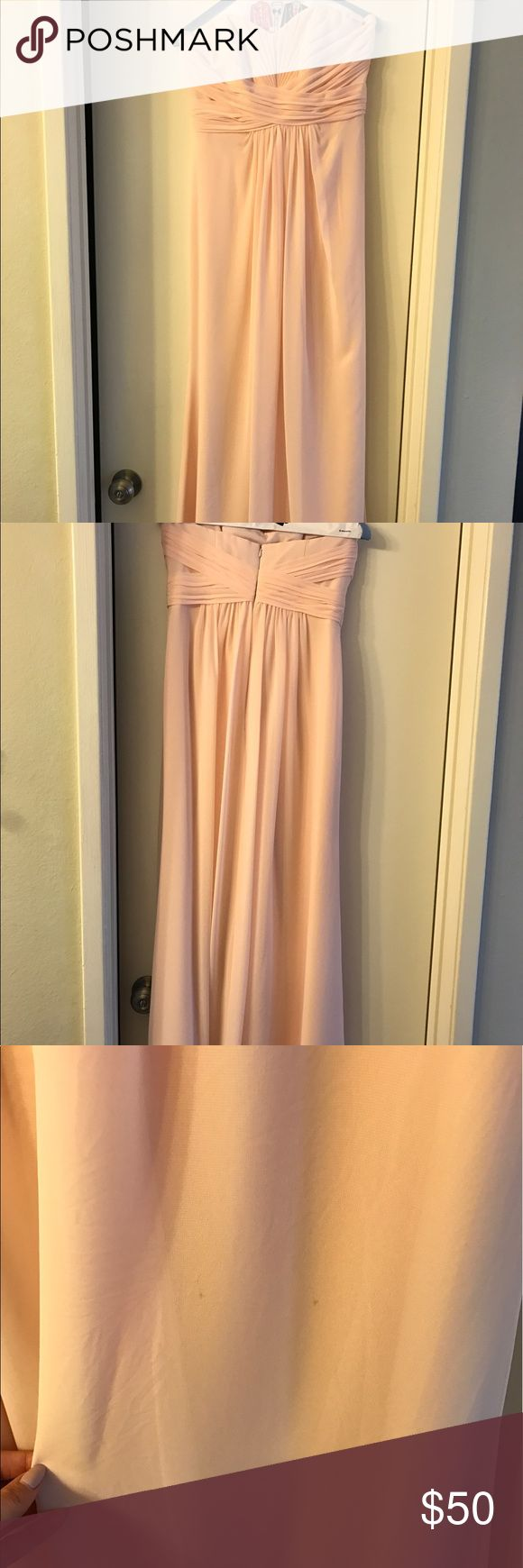 "David's Bridal Bridesmaid Dress, Blush Pink, Sz 4 Blush pink bridesmaids dress, only worn once! It has been shortened to fit someone about 5'6"" with flat shoes or shorter with heels. David's Bridal style # F15555 David's Bridal Dresses Strapless"