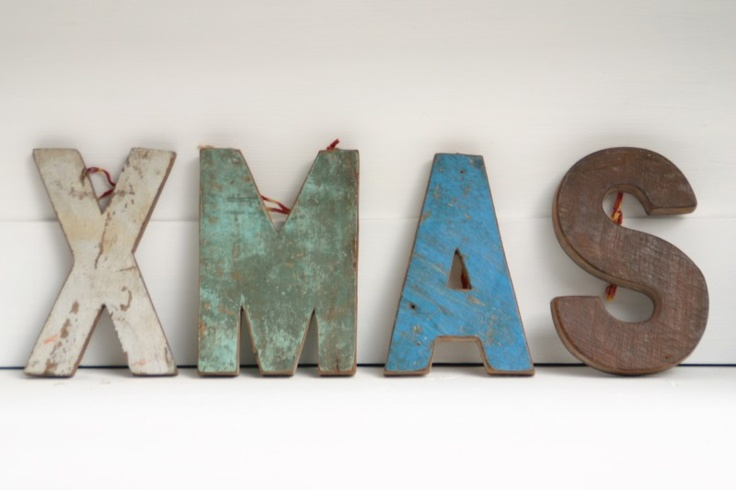 Sloophouten letters XMAS