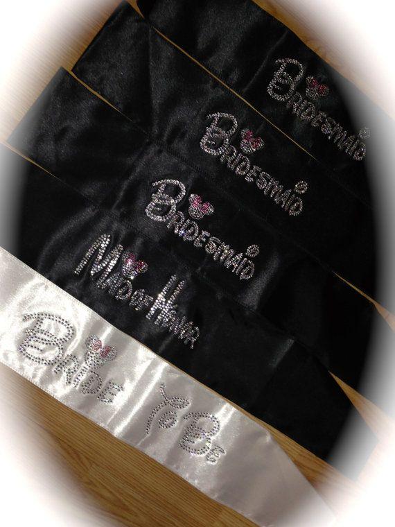 5 Disney Font Bride To Be Sash. Bachelorette Party Sash. Bridal Party Sash. Wedding. Hot Pink. Black. Sewn Ends. Thicker Bridal Party Sash. on Etsy, $60.95