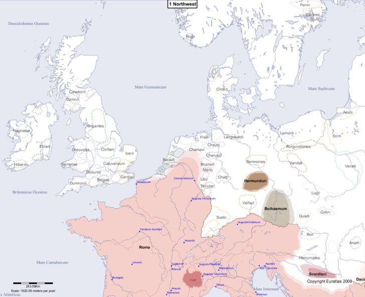 Map showing Europe 1 Northwest