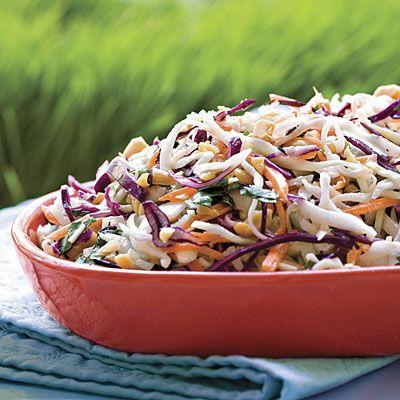 Peanutty Coleslaw | MyRecipes.com Peanut,cilantro, green onion, sesame seed oil, ginger, mayo,wasibi