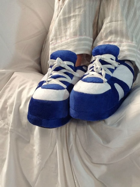 Happy Feet Blue and White Slippers