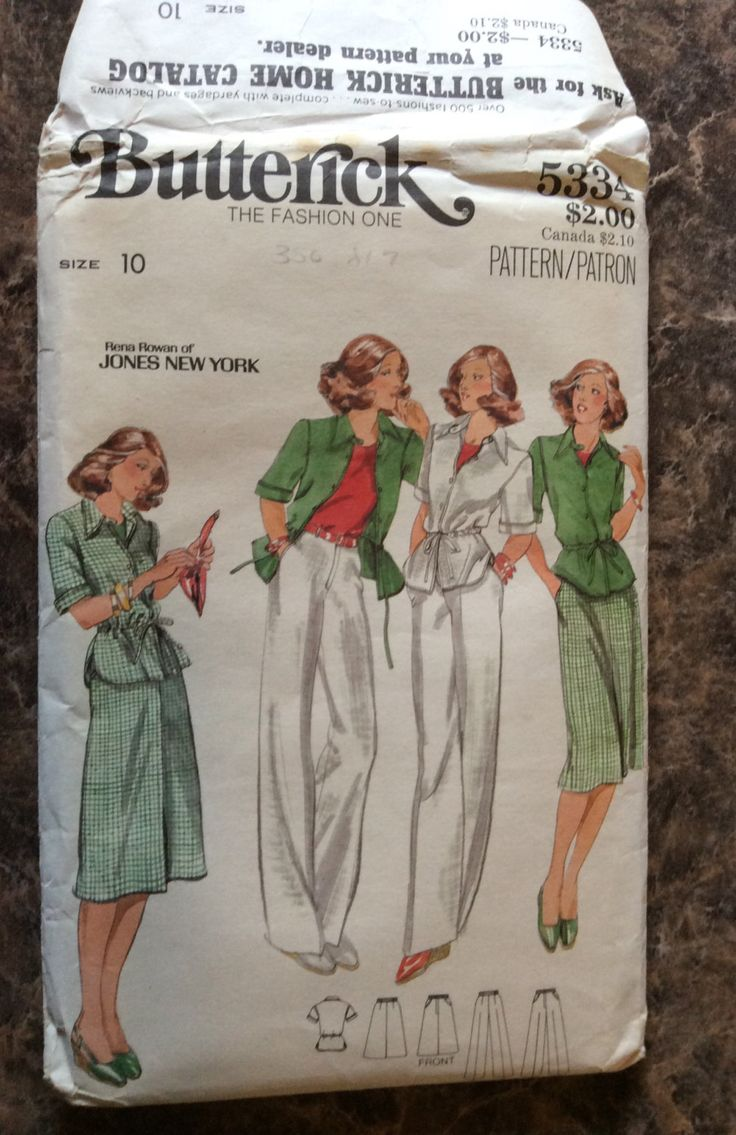 Vintage 1970's Butterick Sewing Clothes Pattern by Rena Rowan Jones New York Misses Jacket, Skirt and Pants - Size 10 by AnnieFannyFooFoo on Etsy