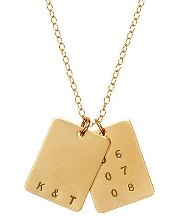 gold; initials / monogram / date / necklace #stylesquared: Bees Jewelry, Gifts Ideas, Tags Necklaces, Rectangle Initials, Gold Necklaces, Anna Bees, Saxon Initials, Valentine Day Gifts, Valentines Day Gifts