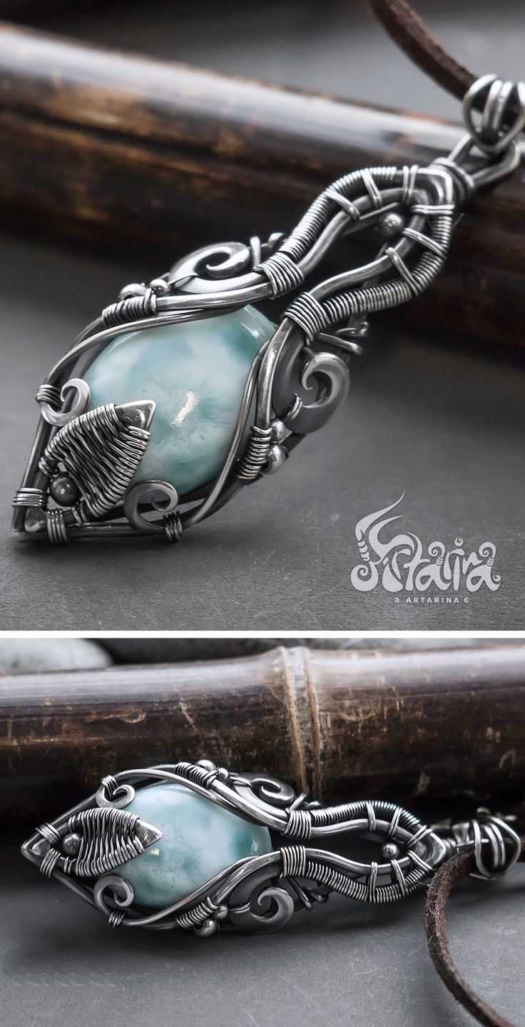 Larimar silver wire wrapped necklace