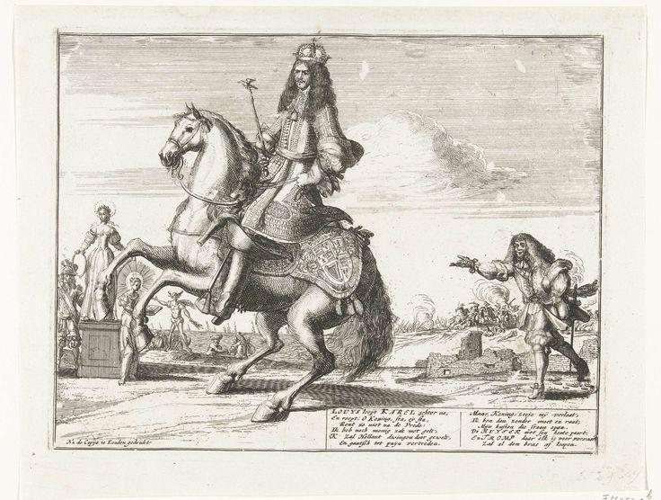 Anonymous | Spotprent op de pogingen van Frankrijk om de vredeshandel van Engeland met de Republiek te verhinderen, 1674, Anonymous, 1674 | Spotprent op de pogingen van Frankrijk om de vredeshandel van Engeland met de Republiek te verhinderen, 1674. Koning Karel II van Engeland te paard, rechts loopt de Franse koning Lodewijk XIV beladen met geldzakken hem achterna. Links de Vrede op een voetstuk staande tussen een krijgsman en Godsdienst. Met twee verzen van 6 regels in de plaat. Onderaan…