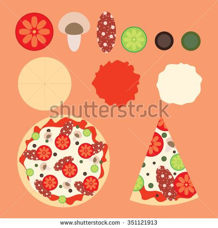 illustration of pizza - stock vector