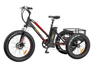 """""""Features & Benefits"""" Addmotor Electric Tricycle 24 Inch Fat Tire Electric Bicycle Trike Three Wheel Bikes 500W 10.4A Lithium Battery Rear Basket Cargo Tricycle M-350 E-bike"""