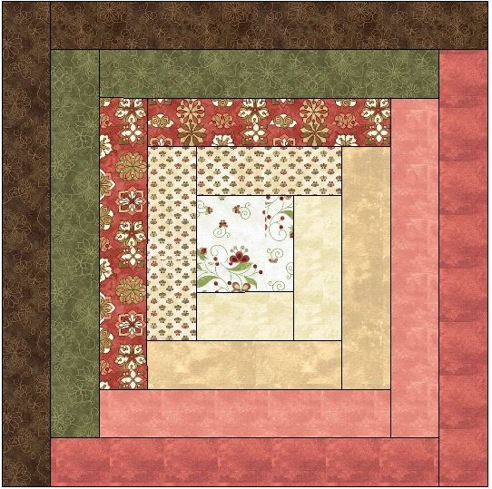 Traditional Log Cabin Quilt Block  Pattern by QuiltBlocksByAutumn, $4.50