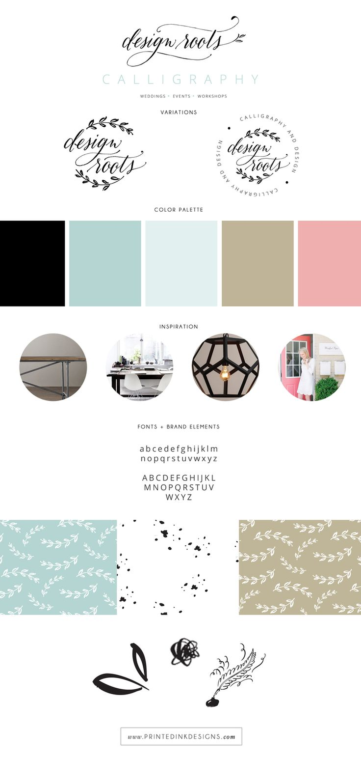 Design Roots brand style board by Intentionally Designed