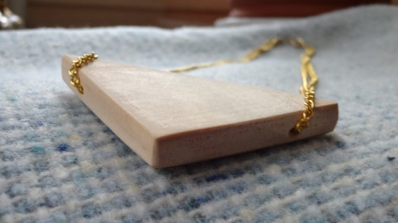 Pine wood triangle bib necklace with gold by Kittycrabtree on Etsy, €15.00