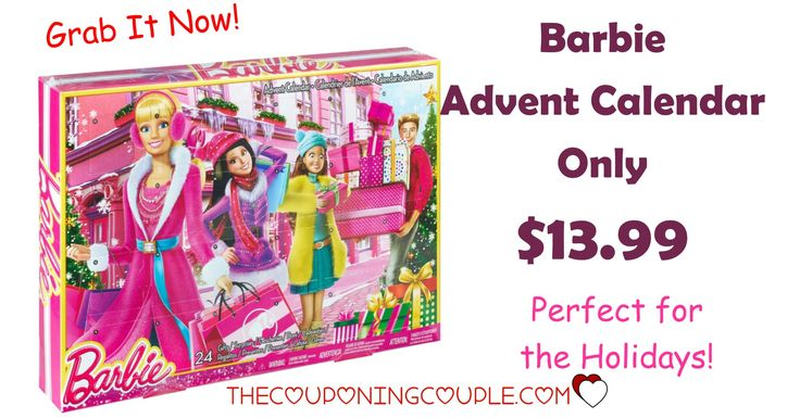 Don't miss out! Grab a Barbie Advent Calendar for only $13.99! Be ready to count down to Christmas with your little girl!  Click the link below to get all of the details ► http://www.thecouponingcouple.com/grab-it-now-barbie-advent-calendar-only-13-99/ #Coupons #Couponing #CouponCommunity  Visit us at http://www.thecouponingcouple.com for more great posts!