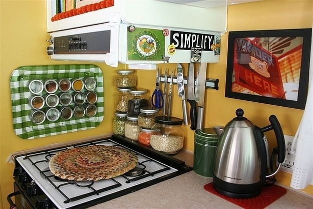 Use wall-mounted magnet strips for knives and scissors. | 44 Cheap And Easy Ways To Organize Your RV/Camper