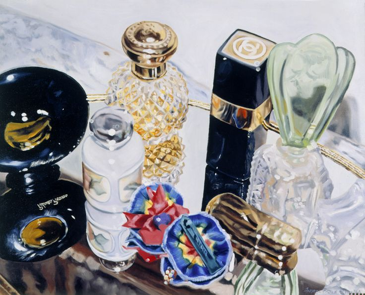 """Growing Up Oil on canvas 30""""x36"""" #still life #Photorealism #perfume #vanity #oilpainting"""