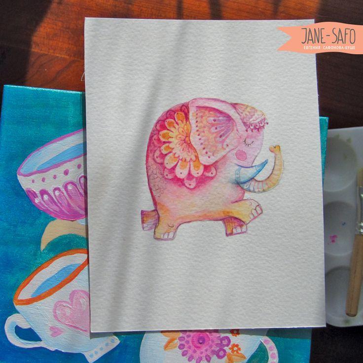 Открытка с рисованным слоном