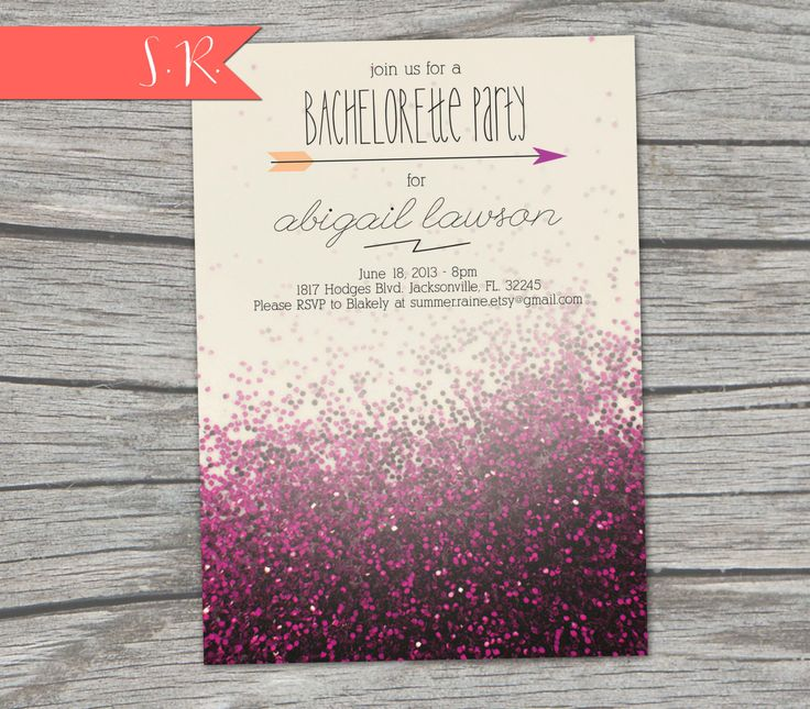 Glitter Bachelorette Party Invitation  Digital by SummerRaine