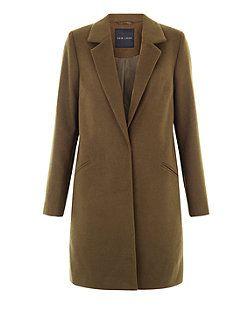 Khaki Brushed Coat  | New Look