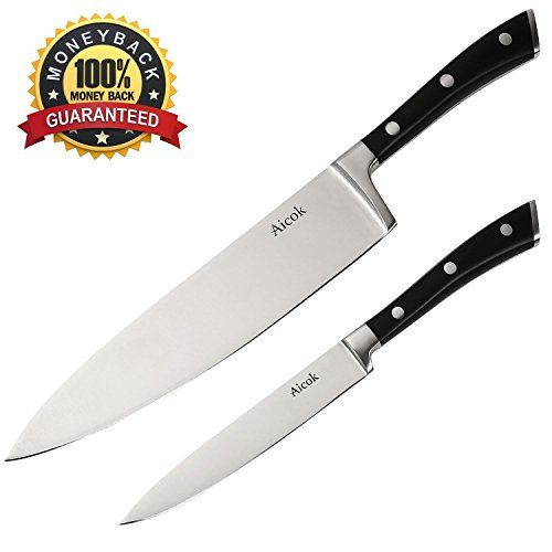 2 Pieces Professional Chef Knife Set This set includes a Chef knife and a Paring knife . This knife set features high carbon stainless steel blades for long lasting durability. The blades are forged from a single piece of steel to ensure outstanding strength. These knives feature handles that... - http://kitchen-dining.bestselleroutlet.net/product-review-for-aicok-kitchen-knives-set-high-carbon-stainless-steel-8-inch-chef-knife-and-5-inch-paring-knife/