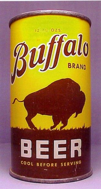 Buffalo brand beer can. Cool Before Serving.