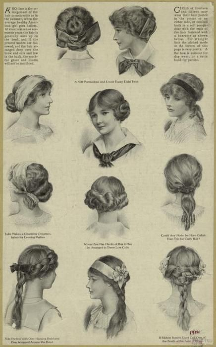 Hairstyles for teenage girls, United States, 1912