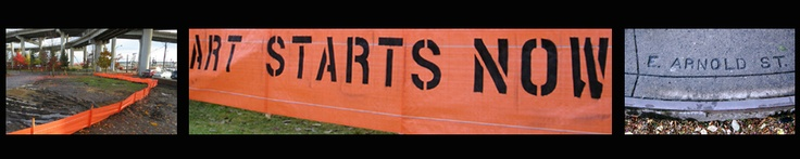 Orange Lining:Art Starts Now; Impressed   Public Art by Buster Simpson