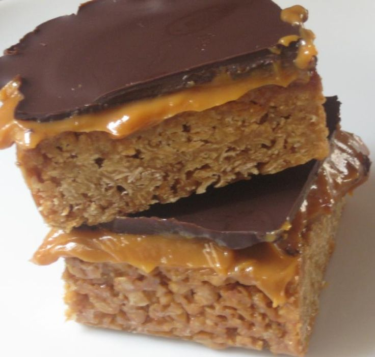 Chocolate & Caramel Flapjacks - During my years living in England, 'Flapjacks' became one of my favorite treats ! BEST OF ALL~~ The oat flapjack base is versatile!! Sandwich in a spread of raspberry jam or top with anything else you might like. Endless possibilities!  ~Vi