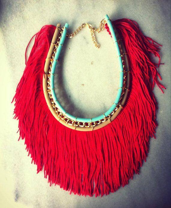 Fashion Necklace Long Red Fringe