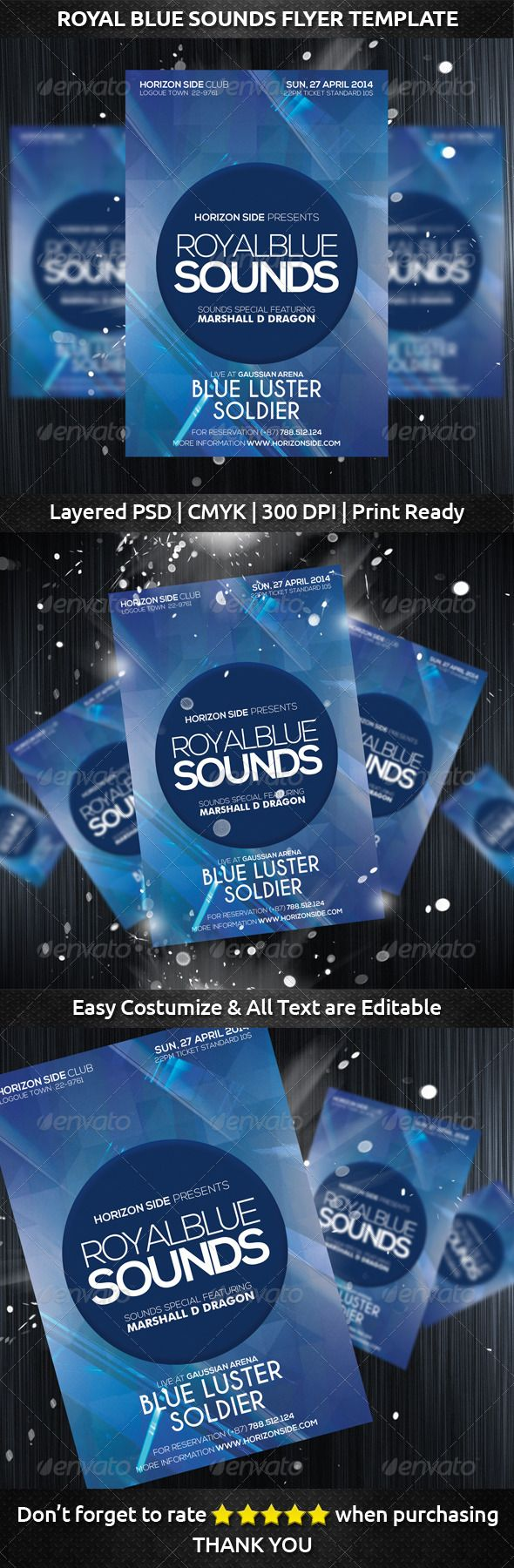 Royal Blue Sounds Flyer Template ~Spesification  `Size : 4×6 inch with bleeds (0.25 inch)  `1 PSD Layerd and well organized layer  `Print Ready (CMYK – 300 DPI)  `Easy to Costumize and All Text are Editable