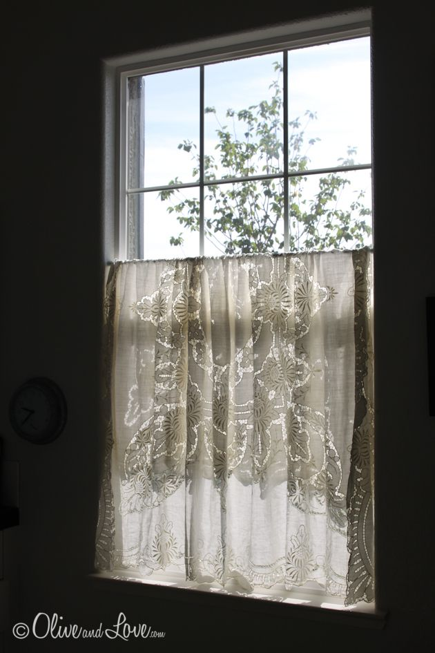 Lace Tablecloth As Cafe Curtain