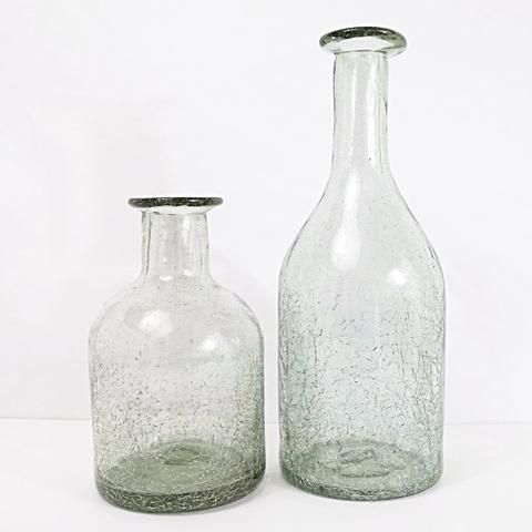 Vintage Bottle Set - Hand Blown Glass - Set of 2 - Transparent with Crackle