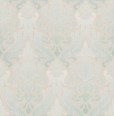 Albany Luna (FD66538) - Albany Wallpapers - A beautiful damask design in a tie-dye effect. Showing in shades of duck egg blue on a silver metallic background. Other colour ways available. Please request a sample for true colour match. Paste-the-wall products.