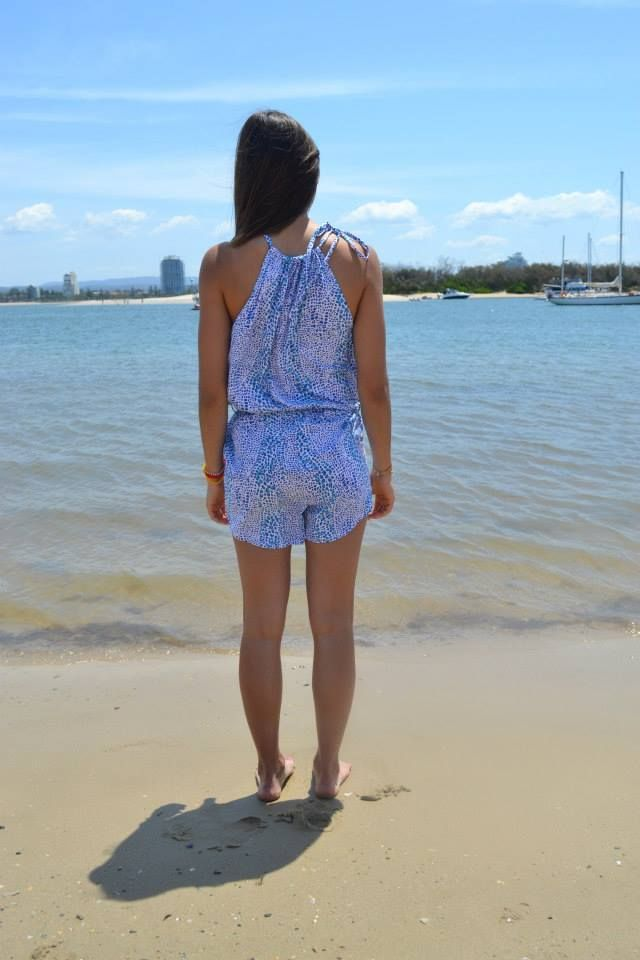 The back of the Leopard Playsuit