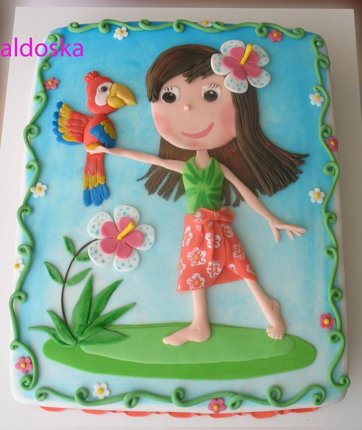 Girl with parrot — Children's Birthday Cakes