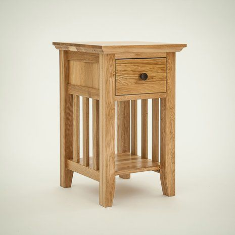Hereford Rustic Oak 1 Drawer Narrow Bedside Table