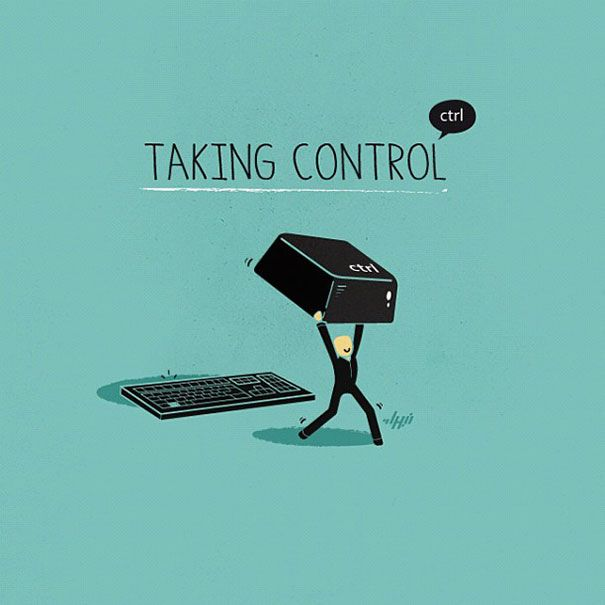 "Clever Illustrations of Everyday Sayings: ""Taking Control"""